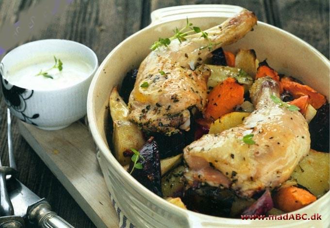 ovnstegt kylling med rodfrugter